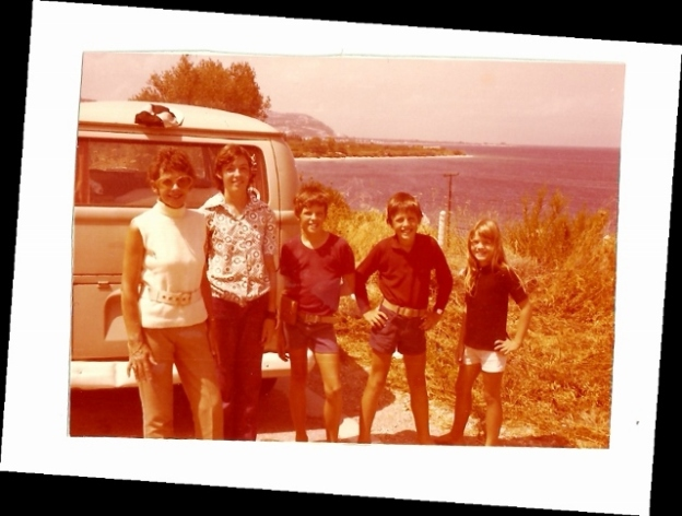 Mum, Lisa, Peter, Daniel and Gabrielle (and the Kombi Van) somewhere in Greece