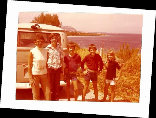 Mum, Lisa, Peter, Daniel and Gabrielle (and the Kombi Van) somewhere in Greece